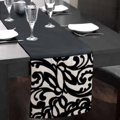 Black and White Baroque Table Runner