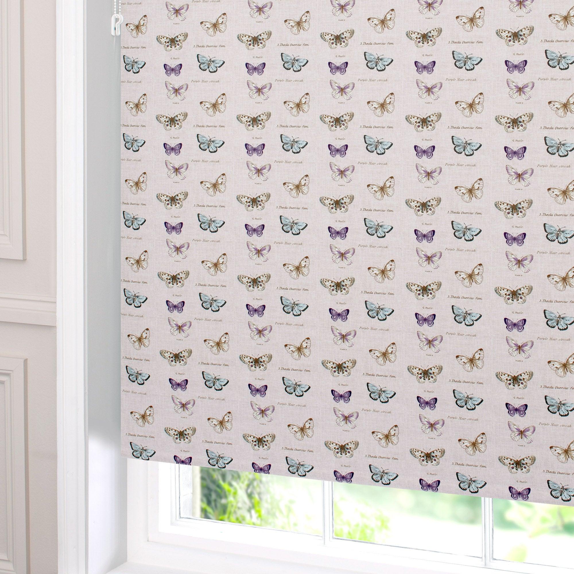 Linen Butterflies Blackout Roller Blind