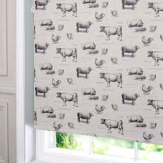 Charcoal Farmyard Blackout Roller Blind