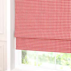 Red Gingham Blackout Roman Blind