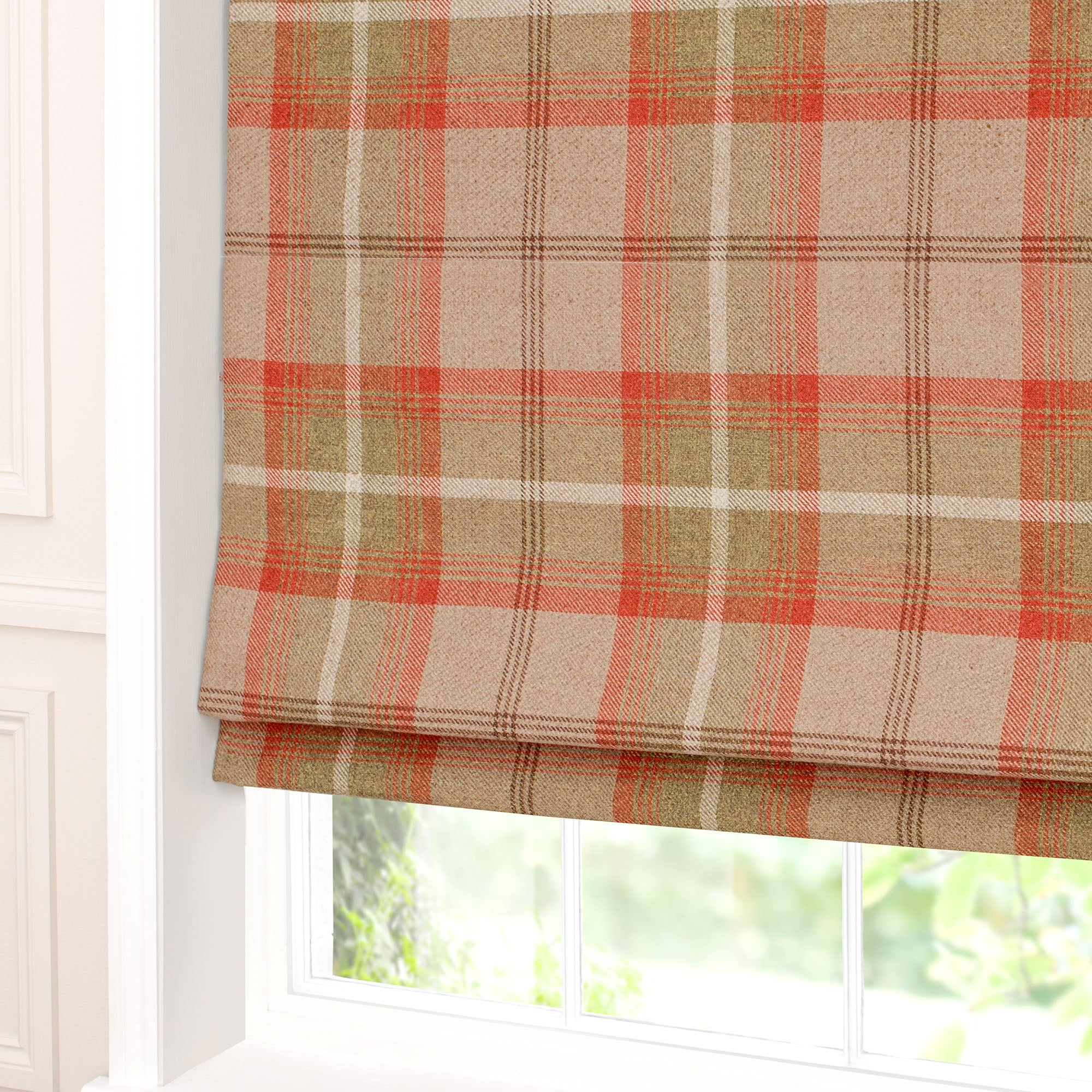 Rust Highland Check Blackout Roman Blind