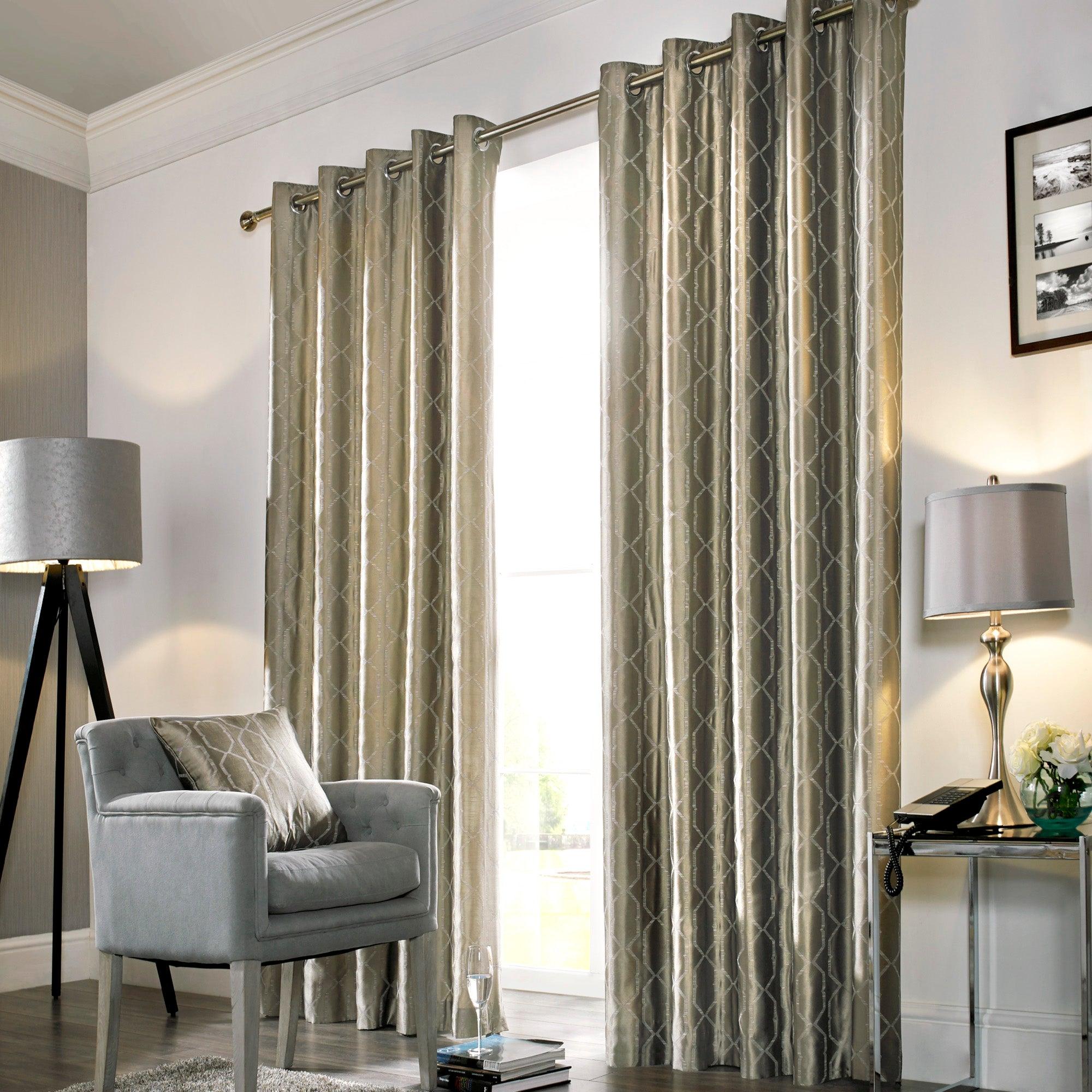 Hotel Mink Lexington Lined Eyelet Curtains
