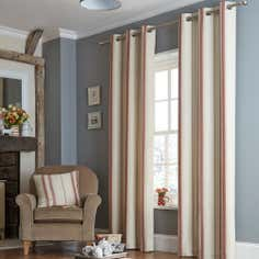Red Country Stripe Lined Eyelet Curtains