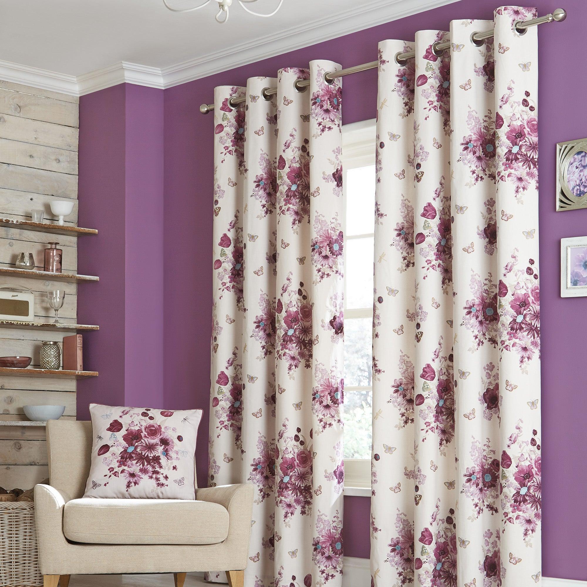 Mauve Flourish Eyelet Lined Curtains