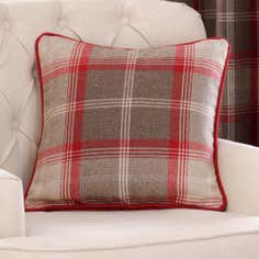 Red Highland Collection Filled Cushion