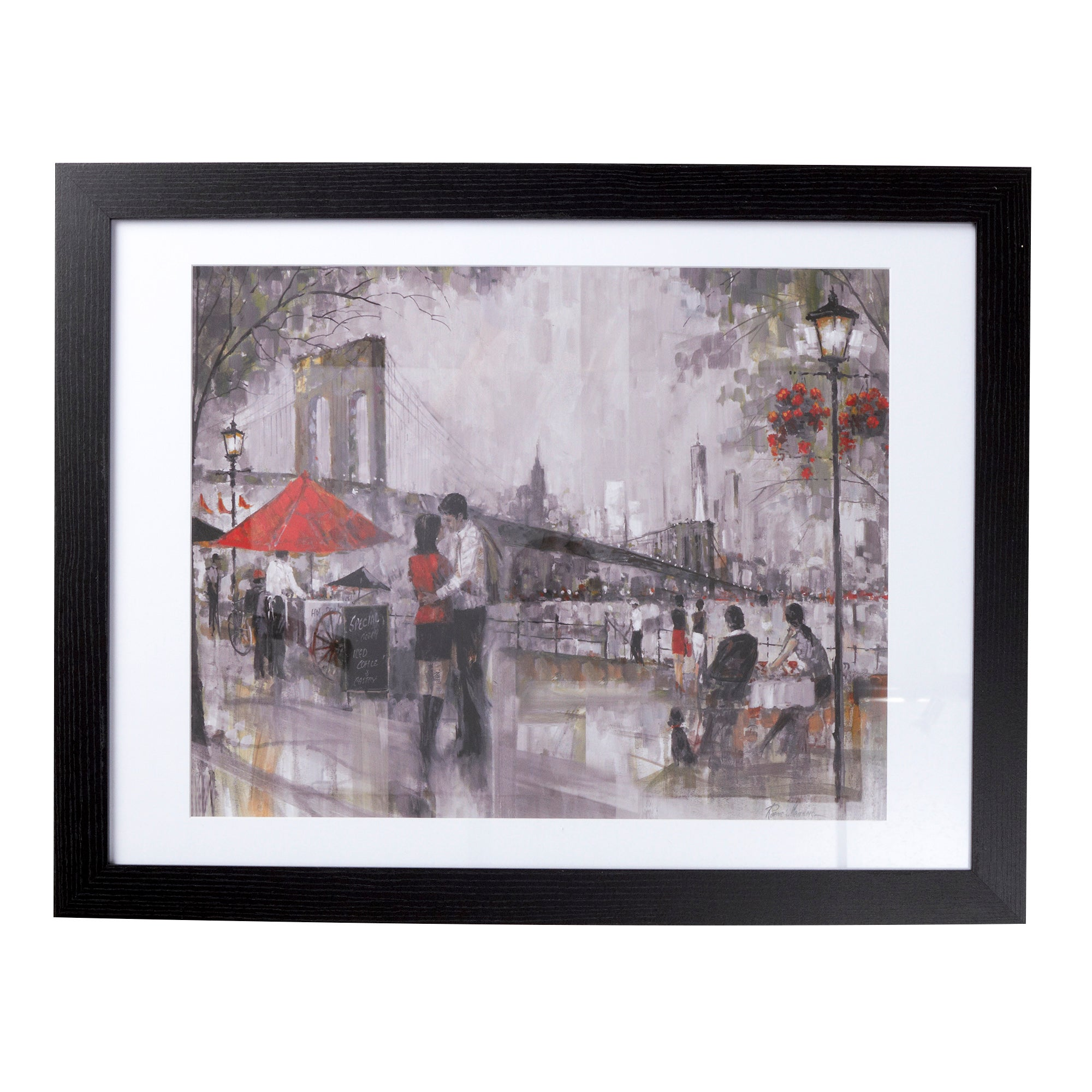 Couple by the Bridge Framed Print