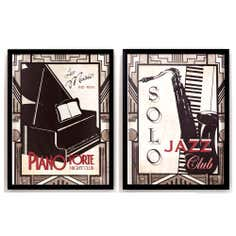Set of 2 Jazz Piano and Saxophone Framed Prints