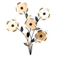 Gold Metal Flowers Wall Art