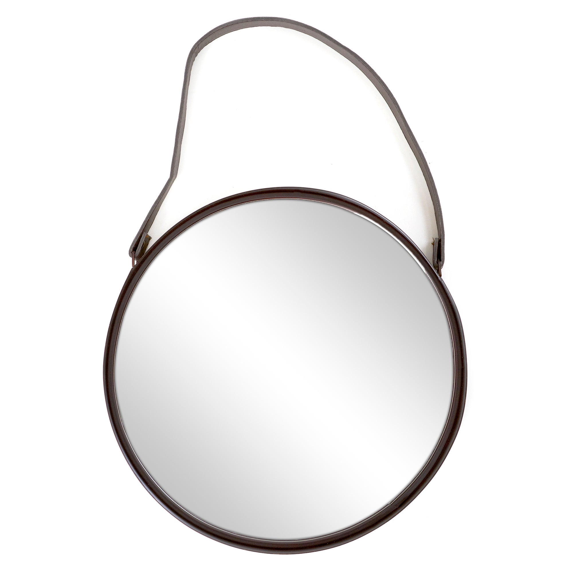 Metal Mirror With Leather Strap