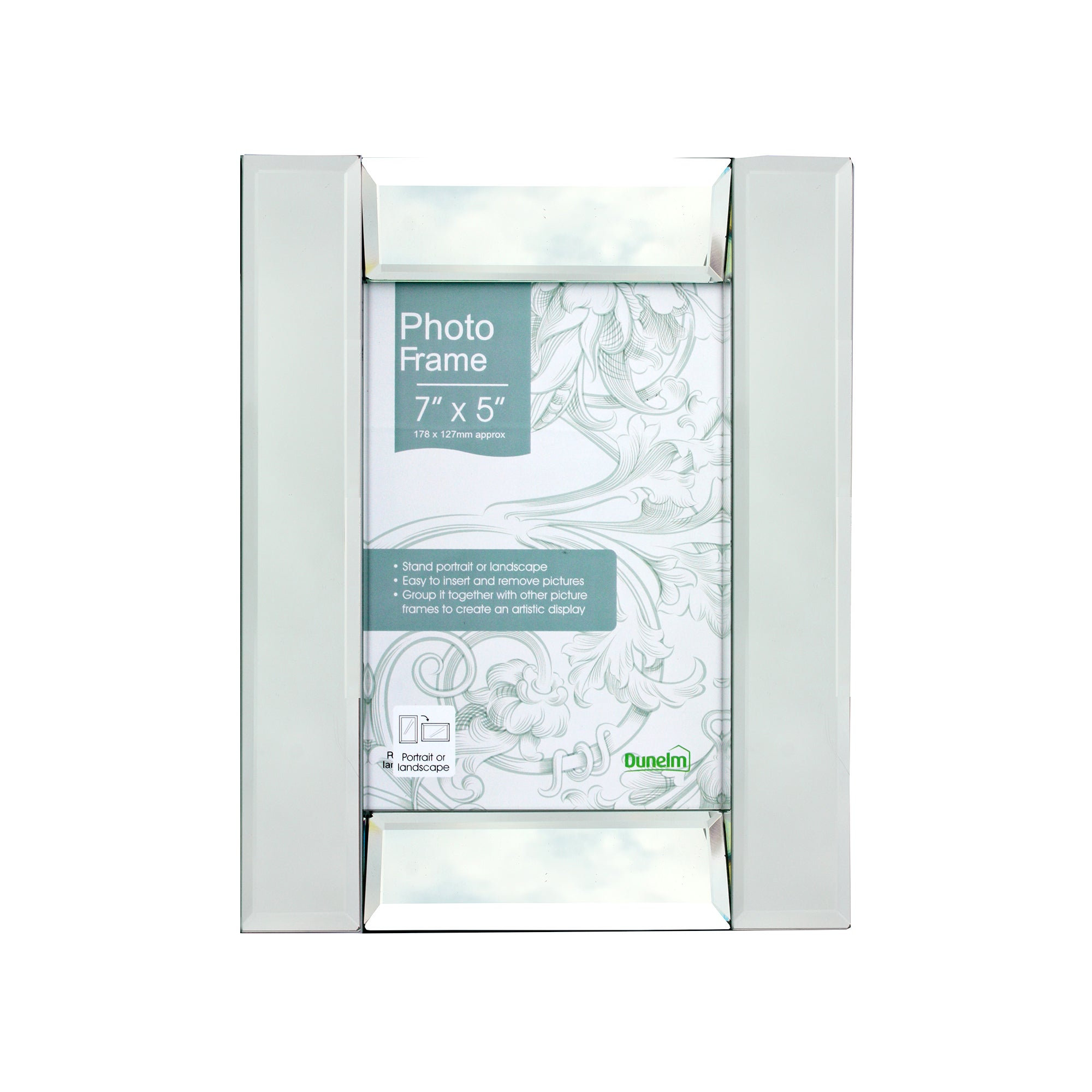 Silver Deep Angle Mirrored Photo Frame