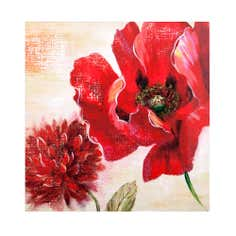 Set of 2 Red Poppy Printed Canvas