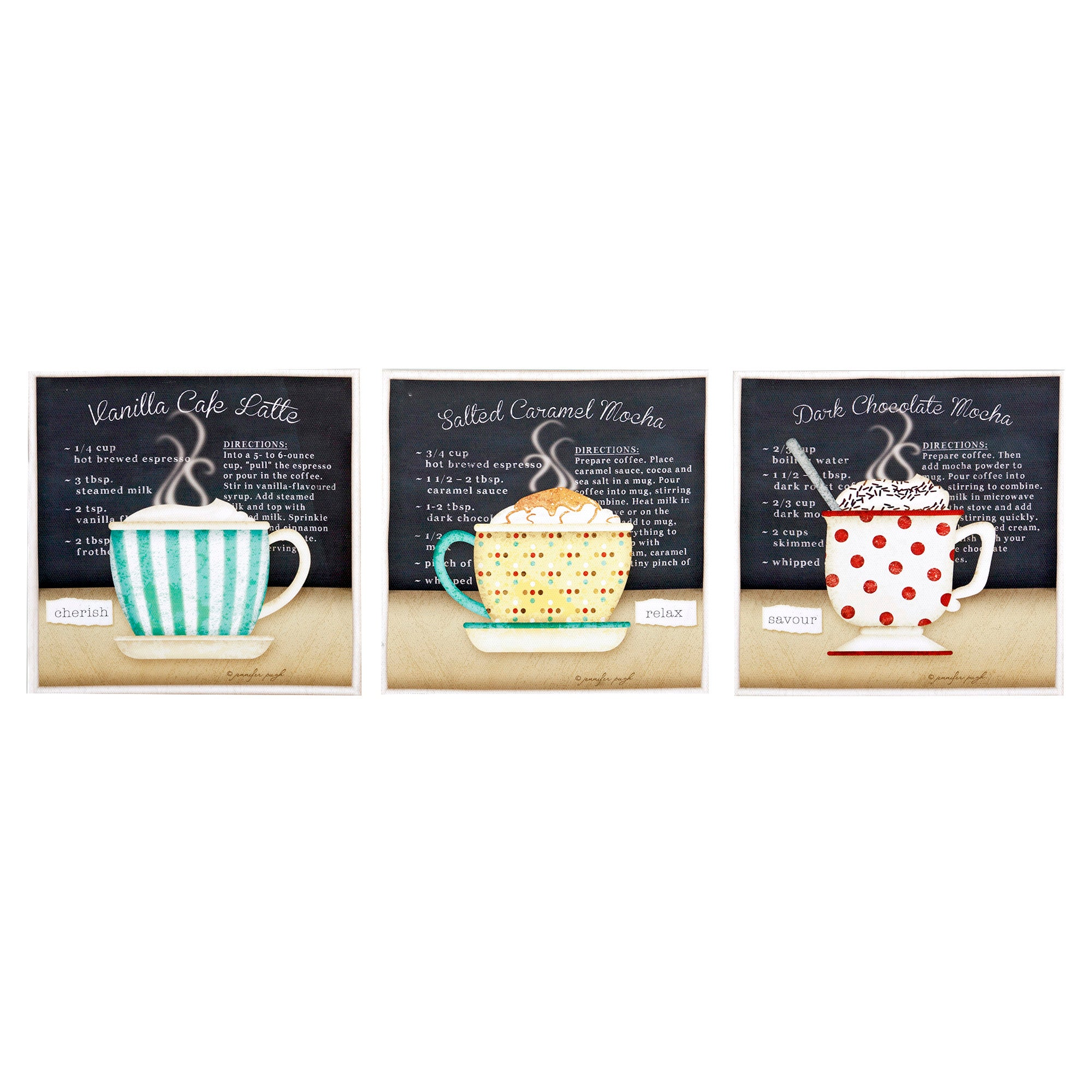 Set of 3 Coffee Cups Printed Canvas