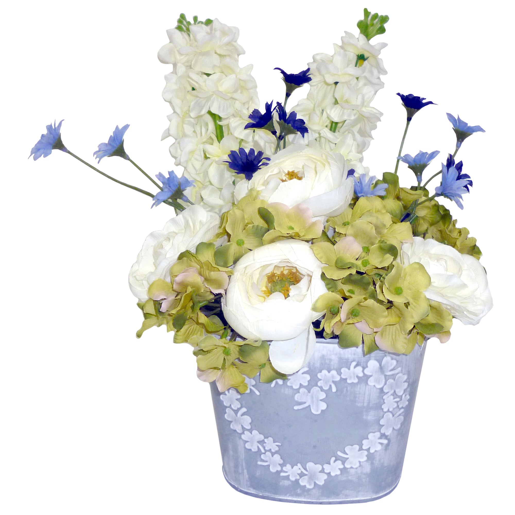 Artificial Flowers in Heart Bucket