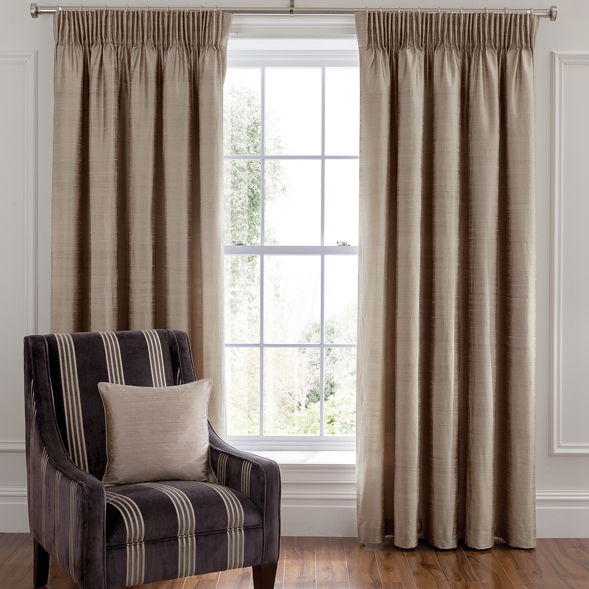 Dorma Mink Beresford Lined Pencil Pleat Curtains