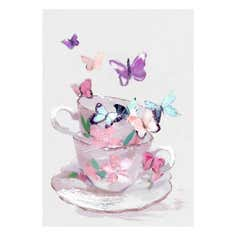 Hand Finished Teacup Butterflies Canvas