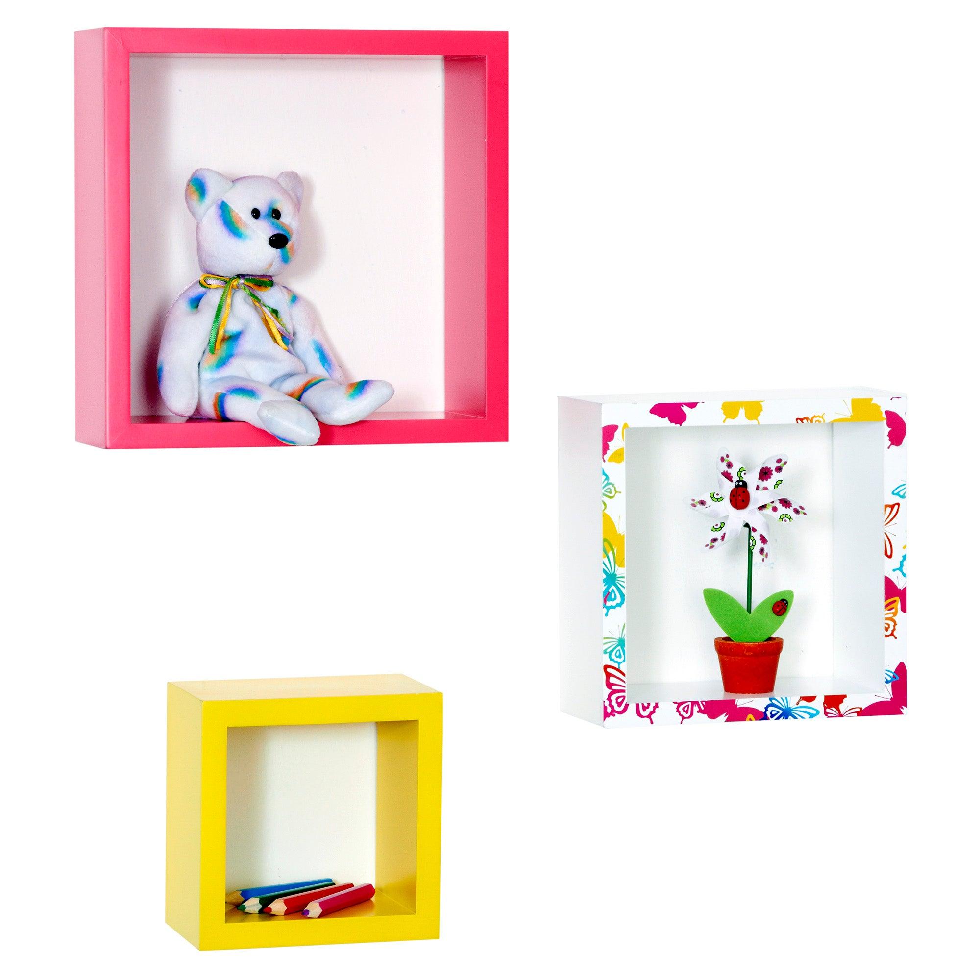 Kids Bright Butterflies Collection 3 Box Shelves