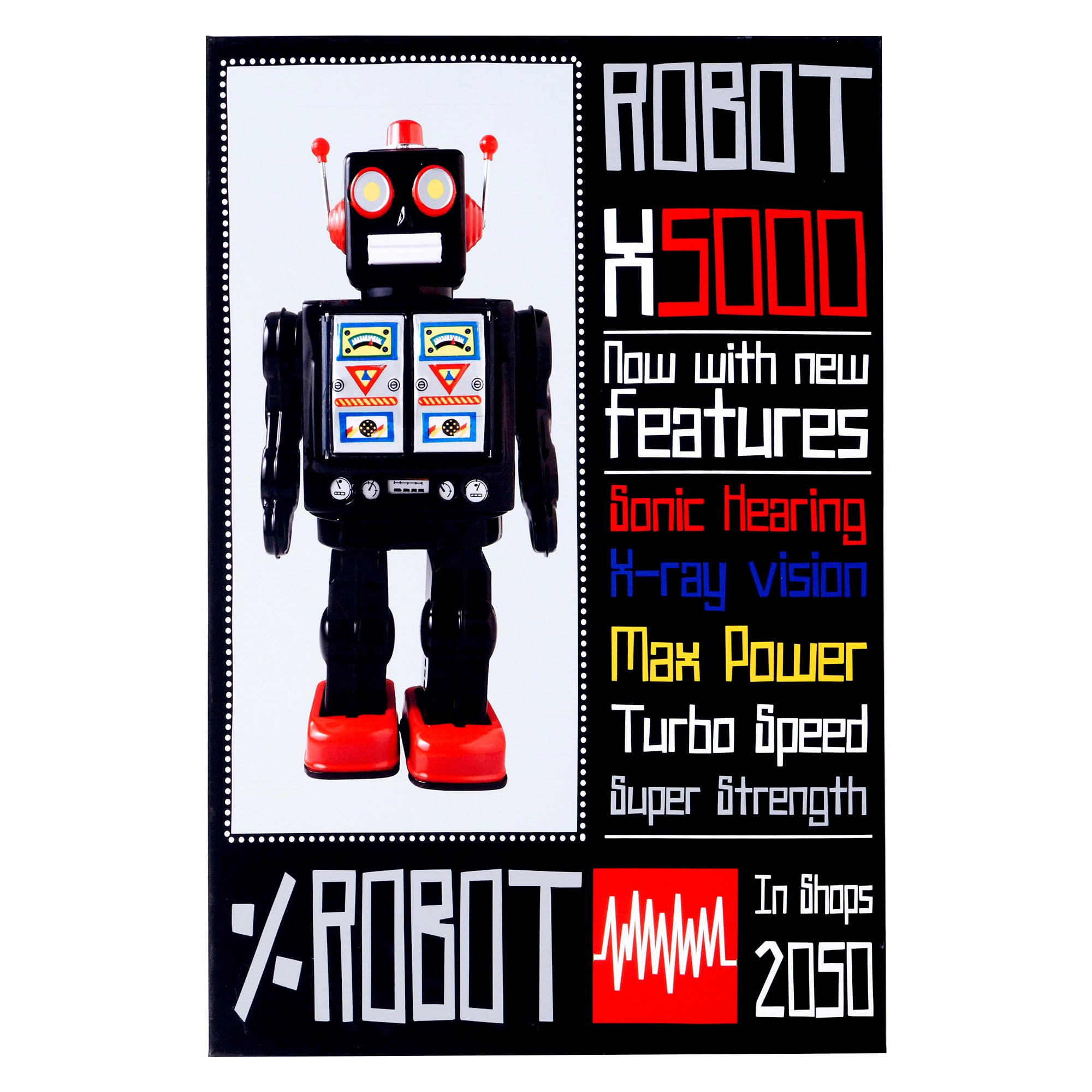 Kids Robot Collection Printed Canvas