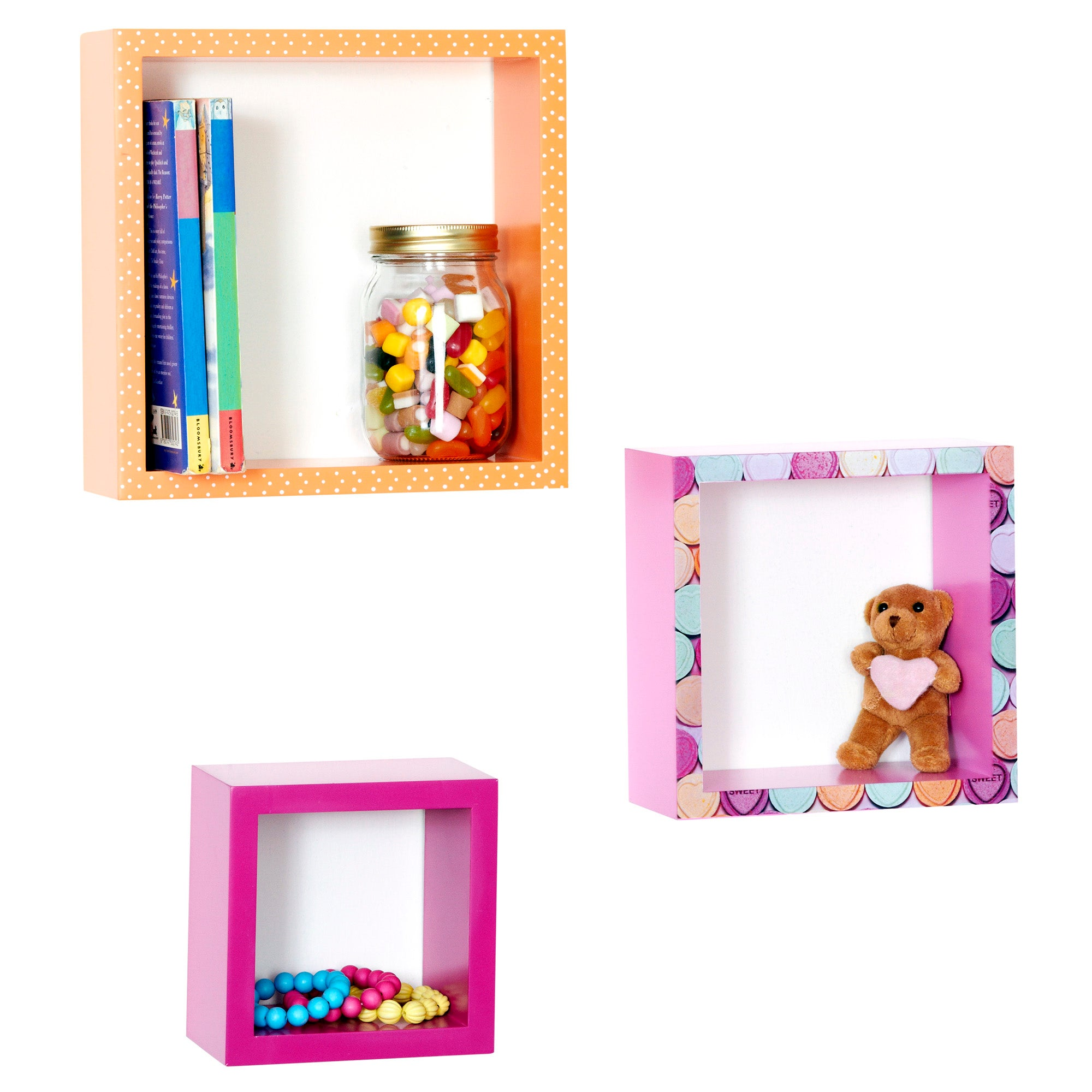 Kids Sweetie Loveheart Collection 3 Box Shelves