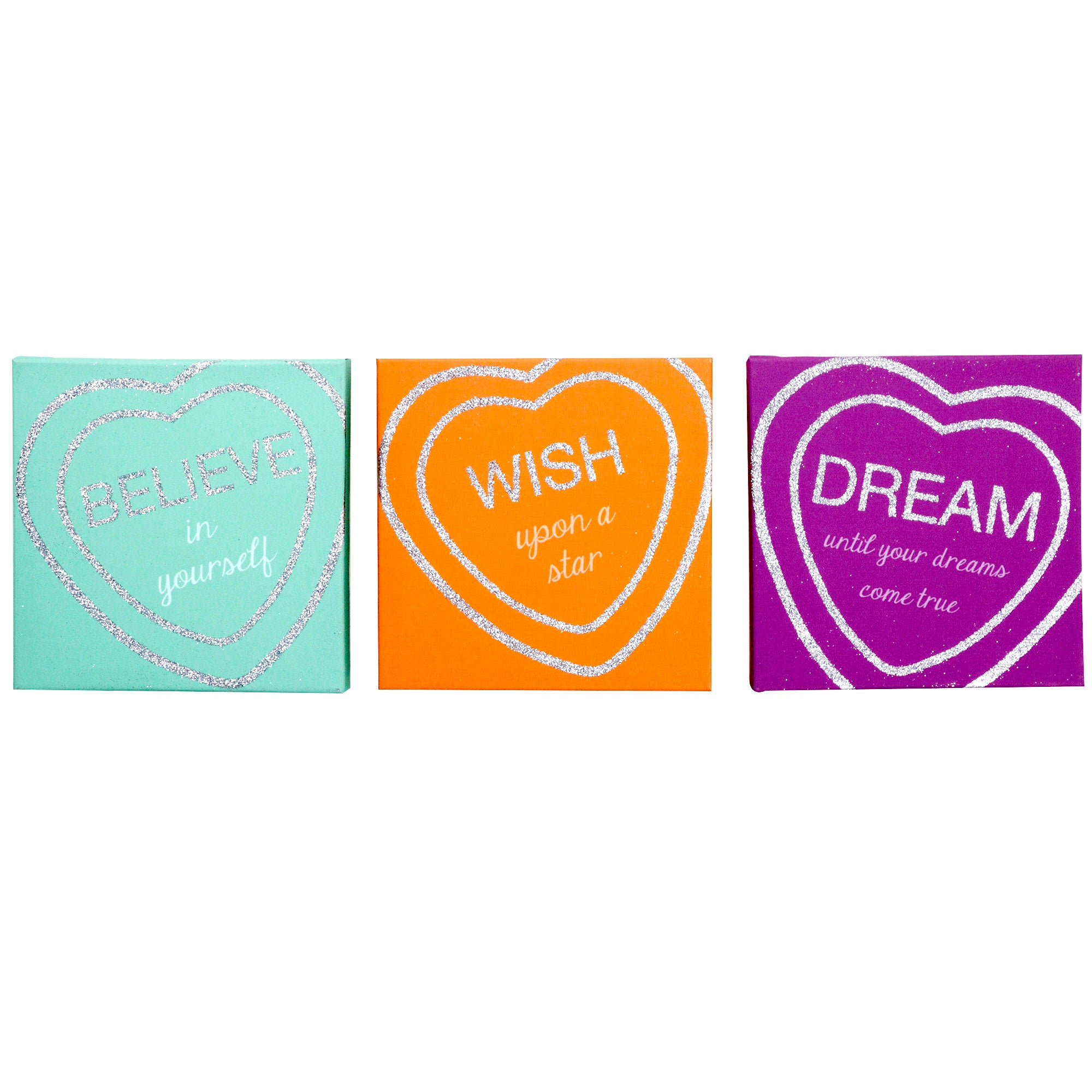 Kids Sweetie Loveheart Collection Pack of Three Glitter Canvases