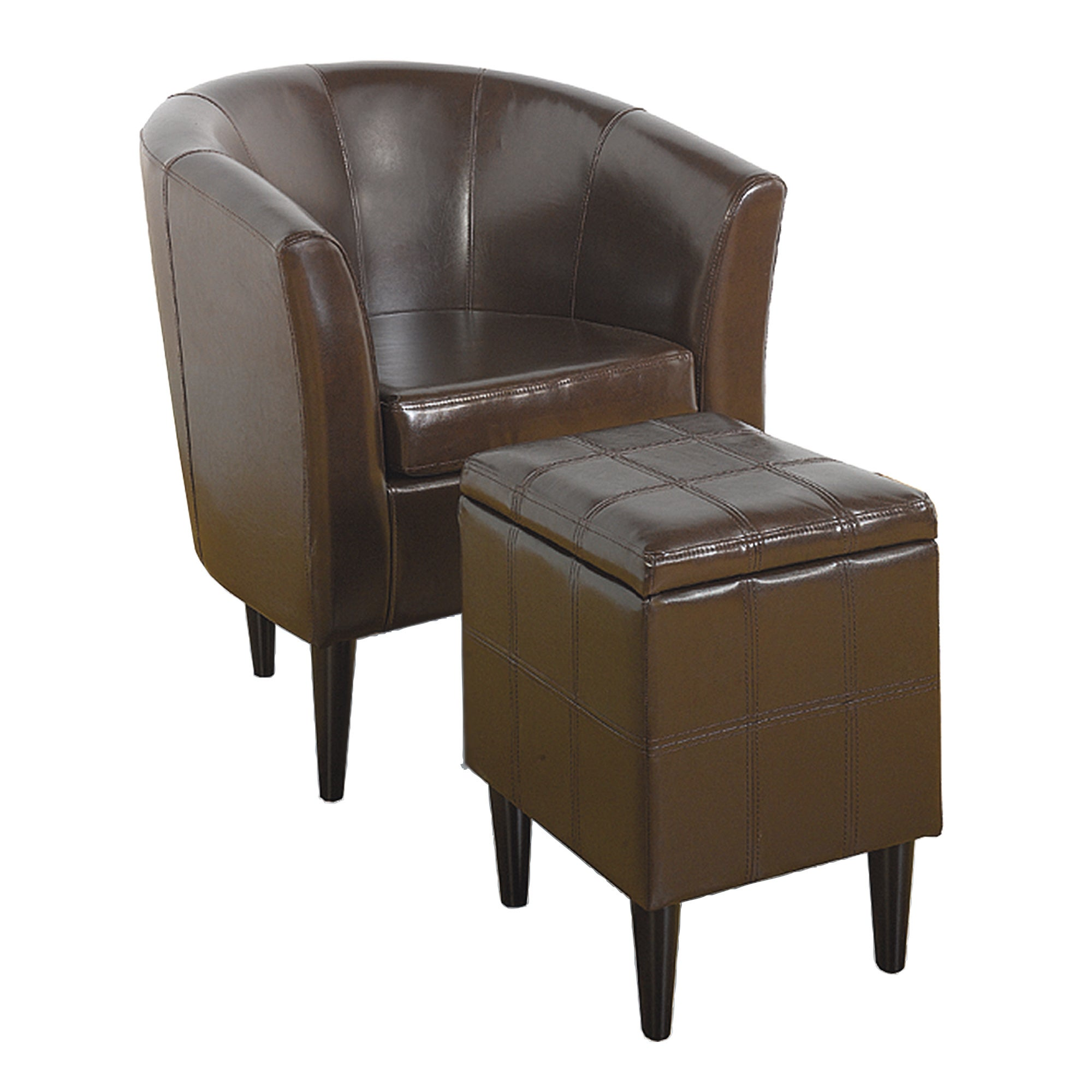 Milan Leather Tub Chair and Footstool Brown