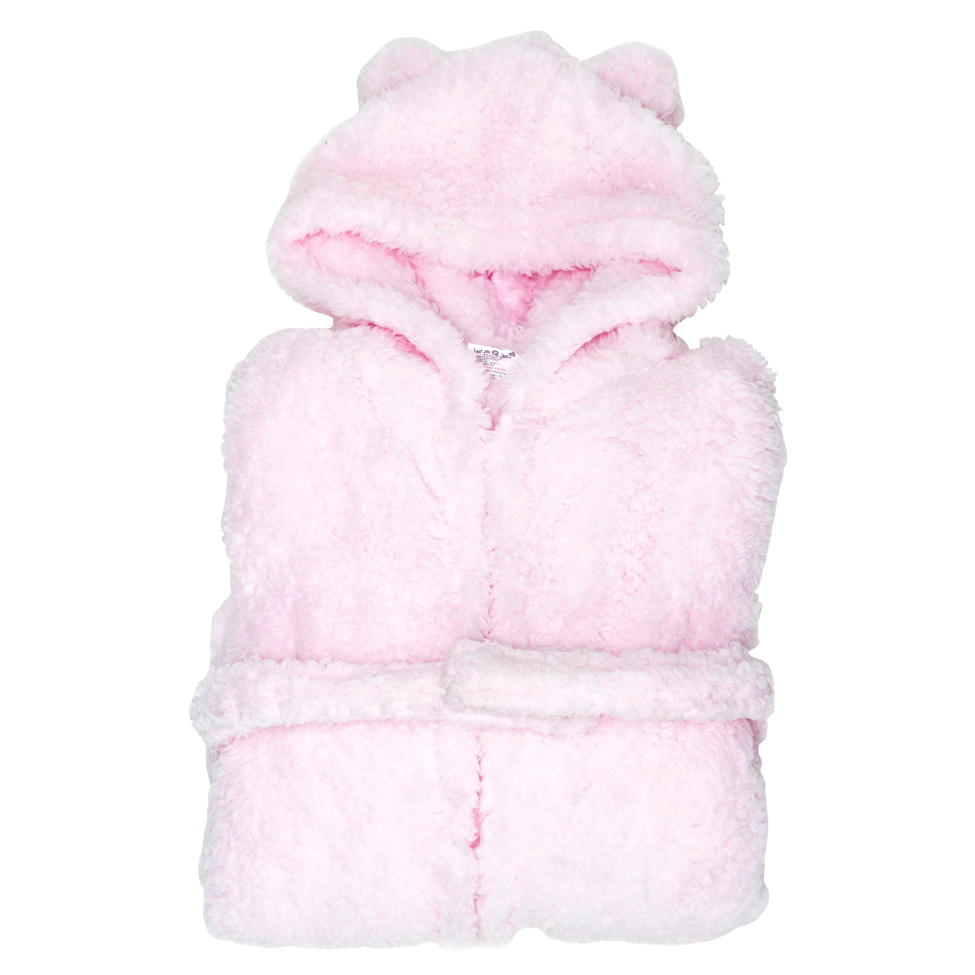 Girls Teddy Bear Pink Bathrobe