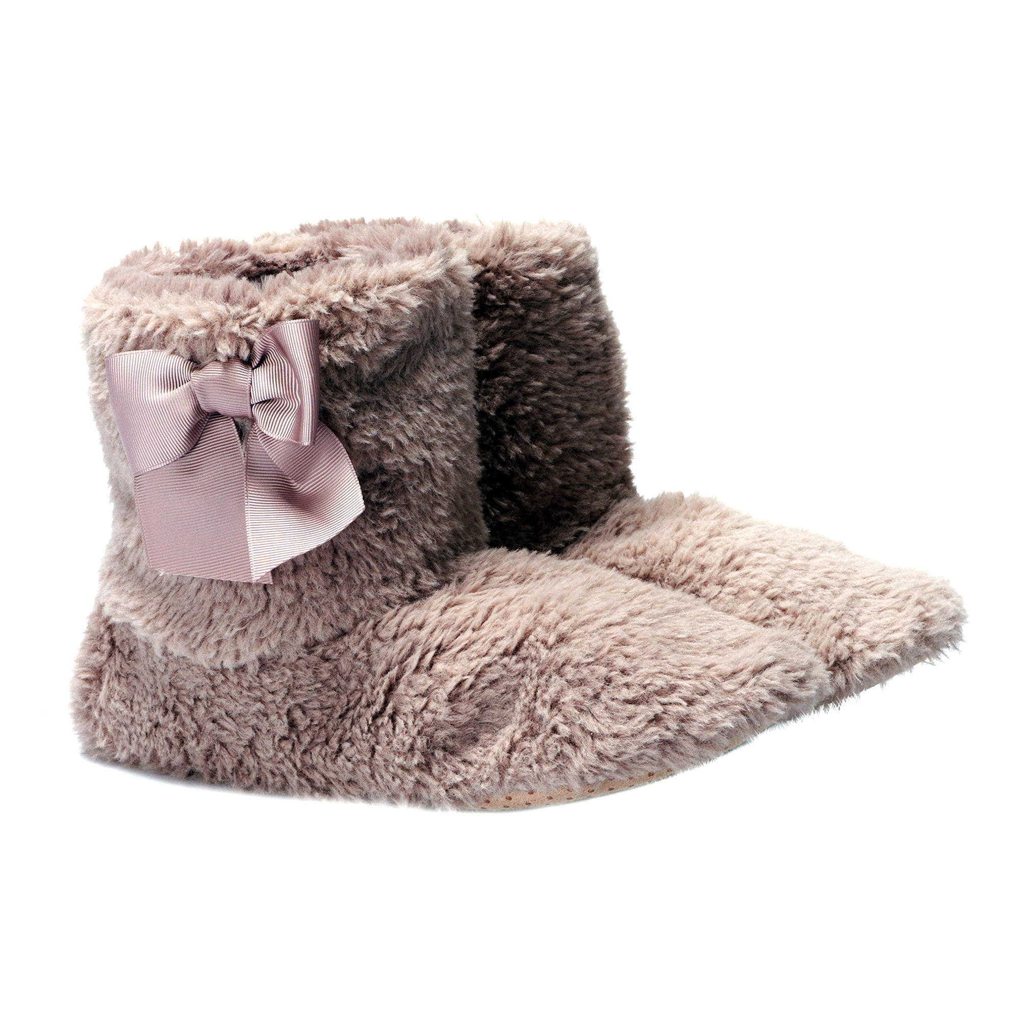 Ladies Teddy Bear Boot Slippers