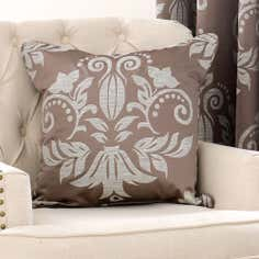 Mink Metallic Damask Collection Cushion