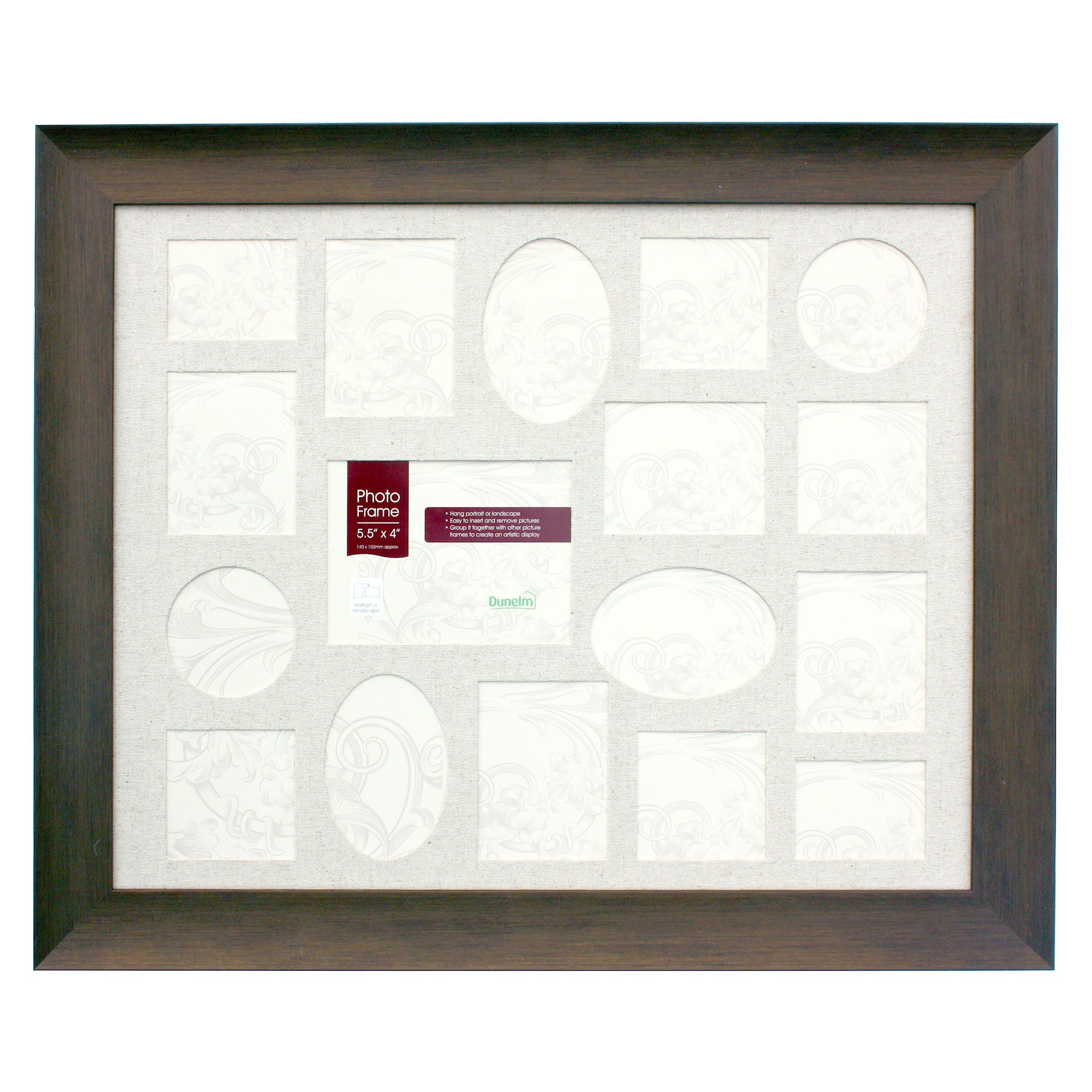 Farmstead Dark Wood 17 Aperture Photo Frame