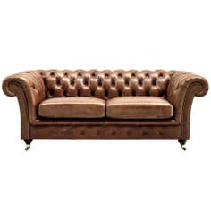 Chesterfield Collection Old English Large Leather Sofa