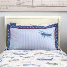 Dorma Blue Vintage Plane Collection Oxford Pillowcase