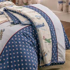 Dorma Blue Vintage Plane Collection Flat Sheet