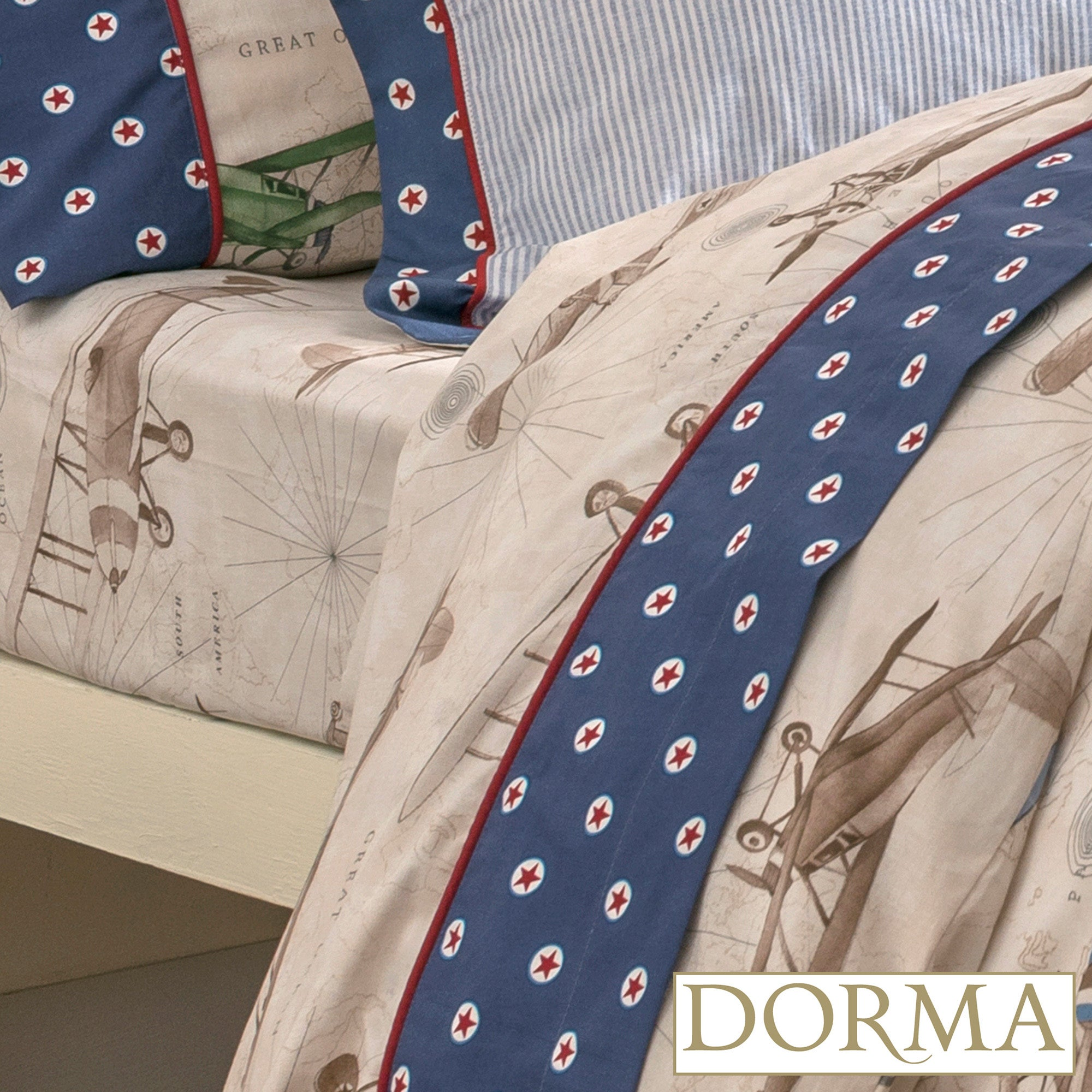 Dorma Blue Vintage Plane Collection Fitted Sheet
