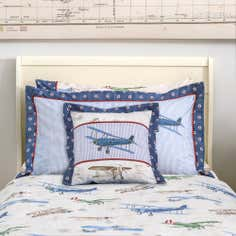 Dorma Blue Vintage Plane Collection Cushion