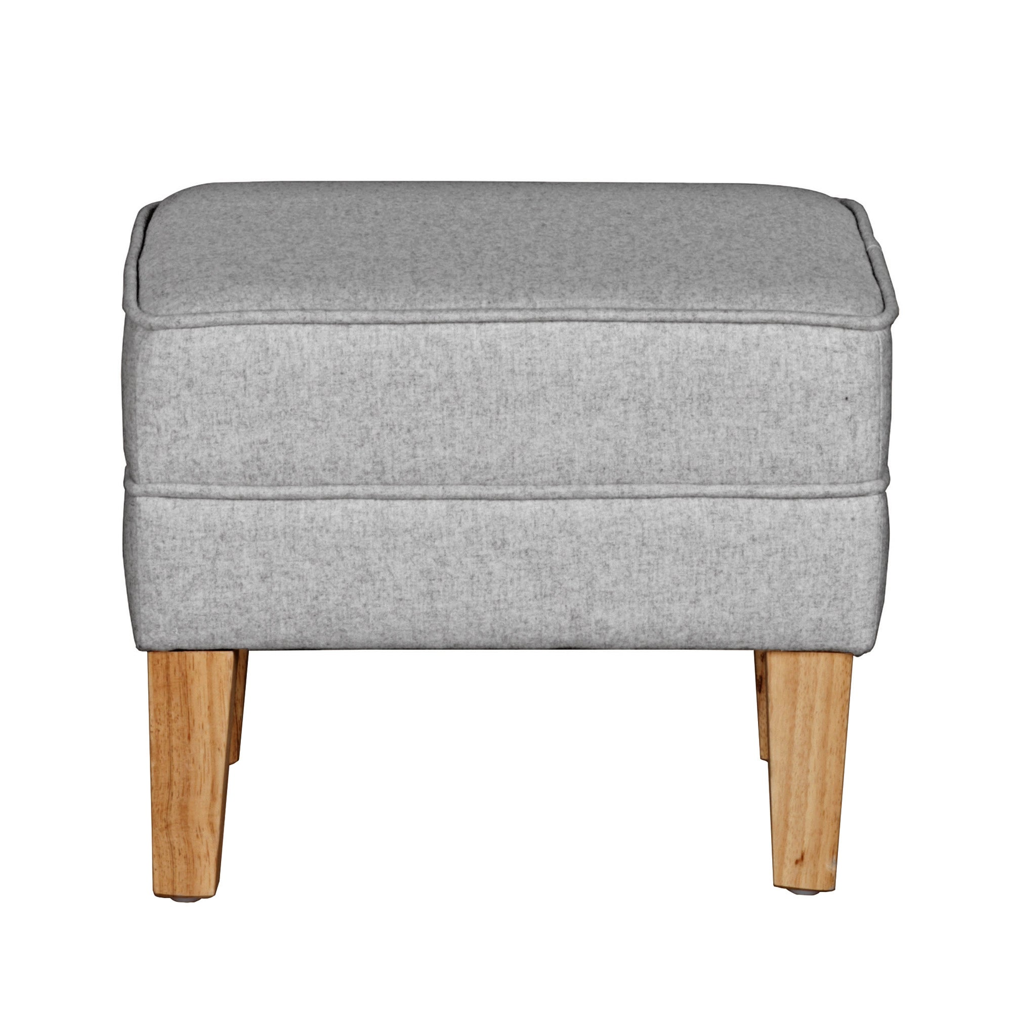 Valencia Grey Textured Weave Footstool