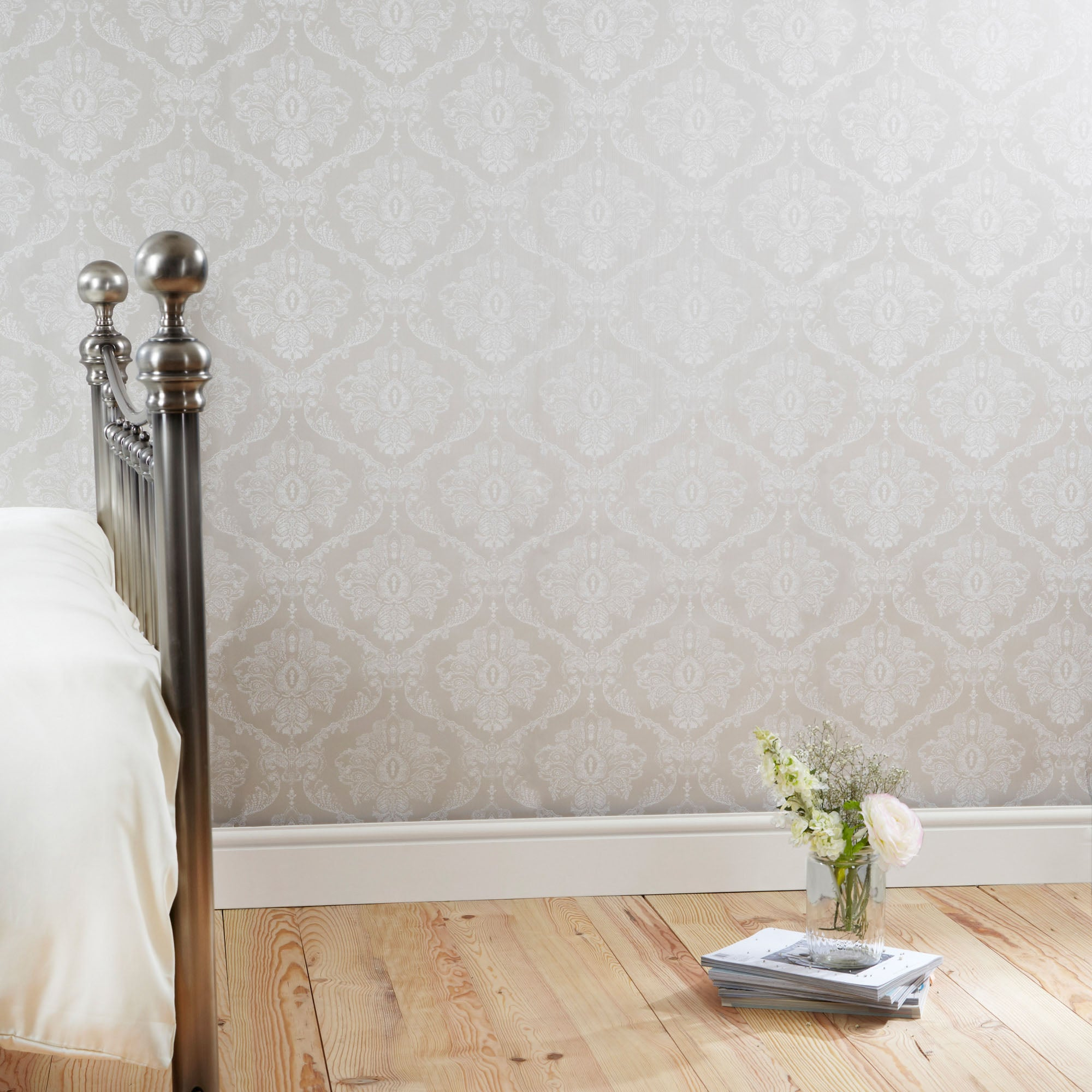 Dorma Natural Aveline Damask Wallpaper