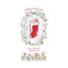 Daisy Patch Baby's First Christmas Card
