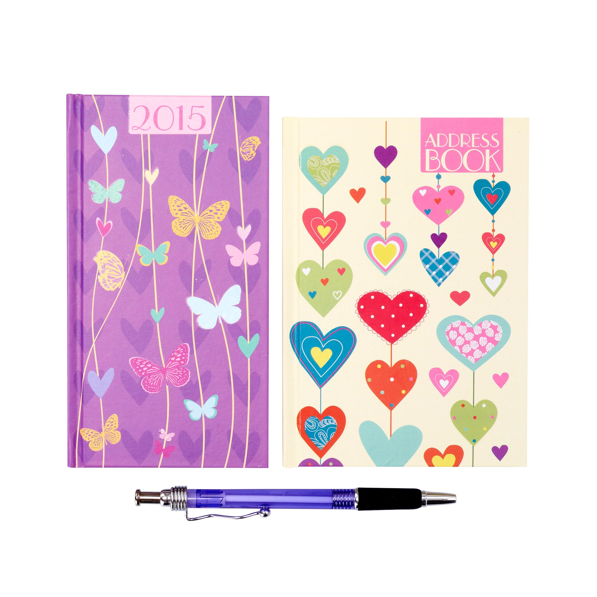 Hearts with Butterflies 2015 Diary and Address Book