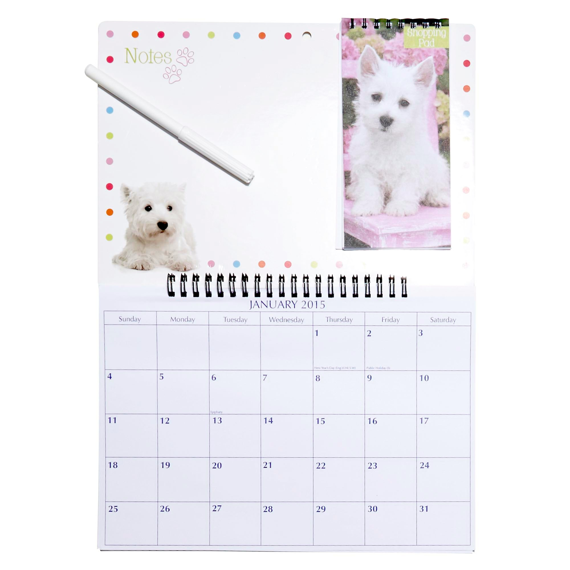 Puppy Dog 2015 Calendar and Memo Shopping Board