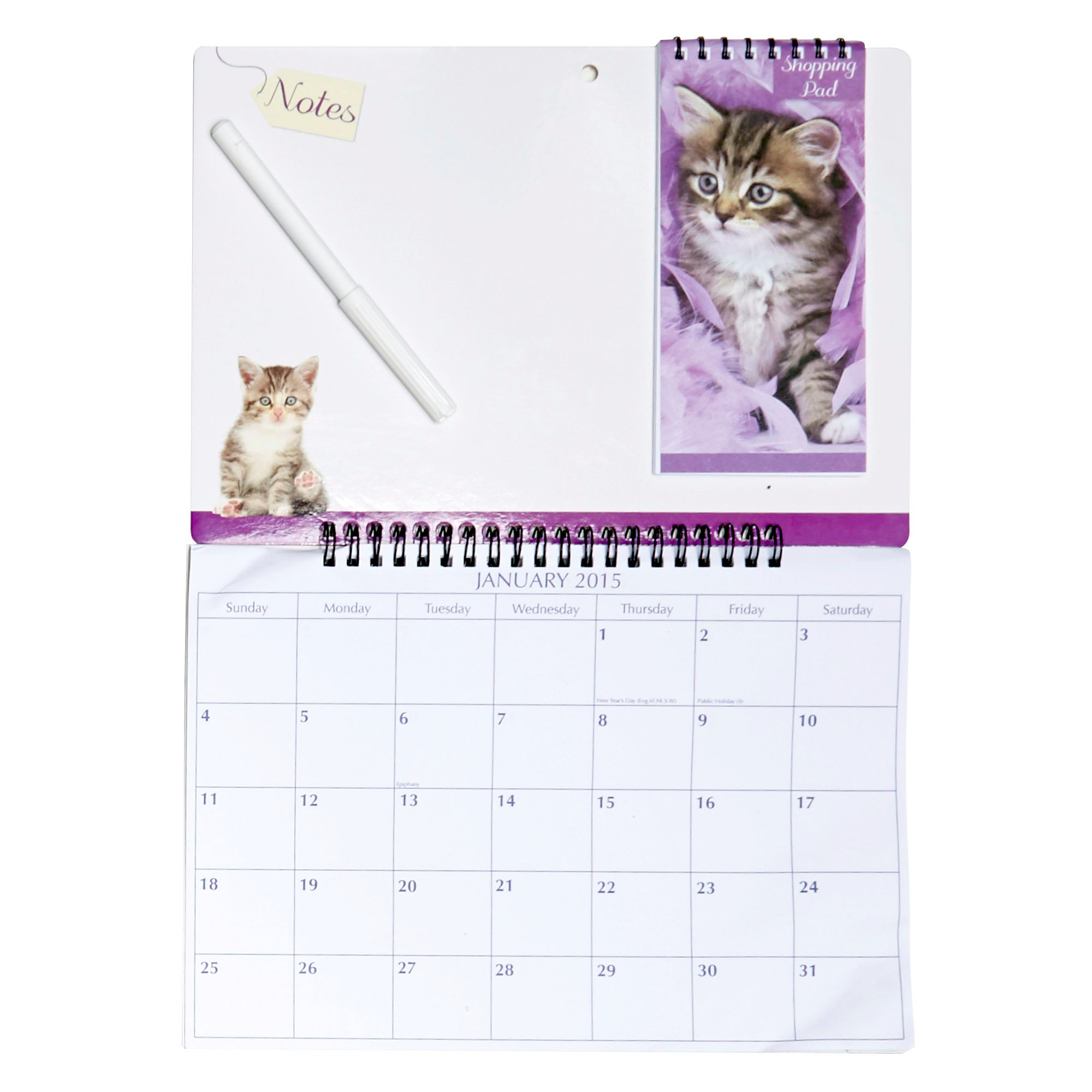 Kitten 2015 Calendar and Shopping Memo Board