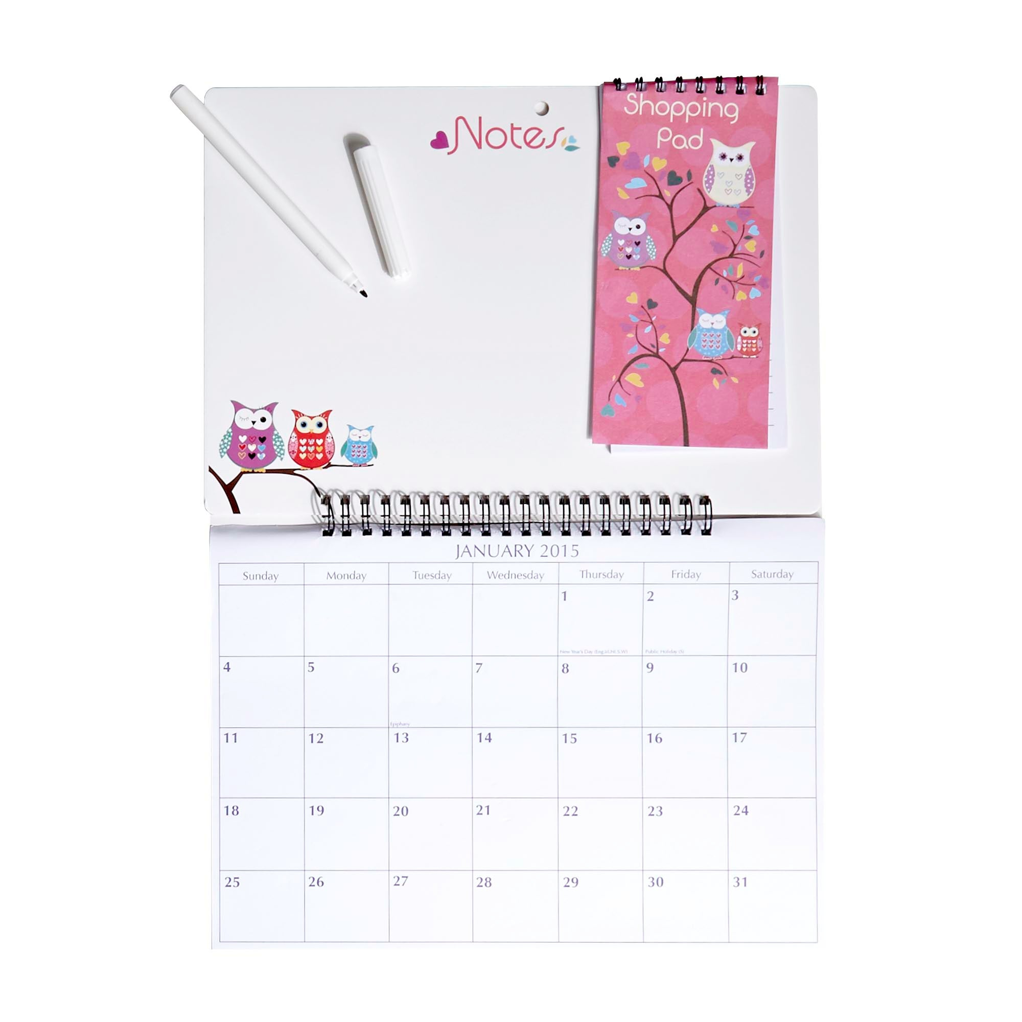 Owl Hanging 2015 Memo Calendar and Shopping List