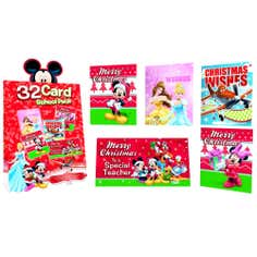 Pack of 32 Disney School Christmas Cards