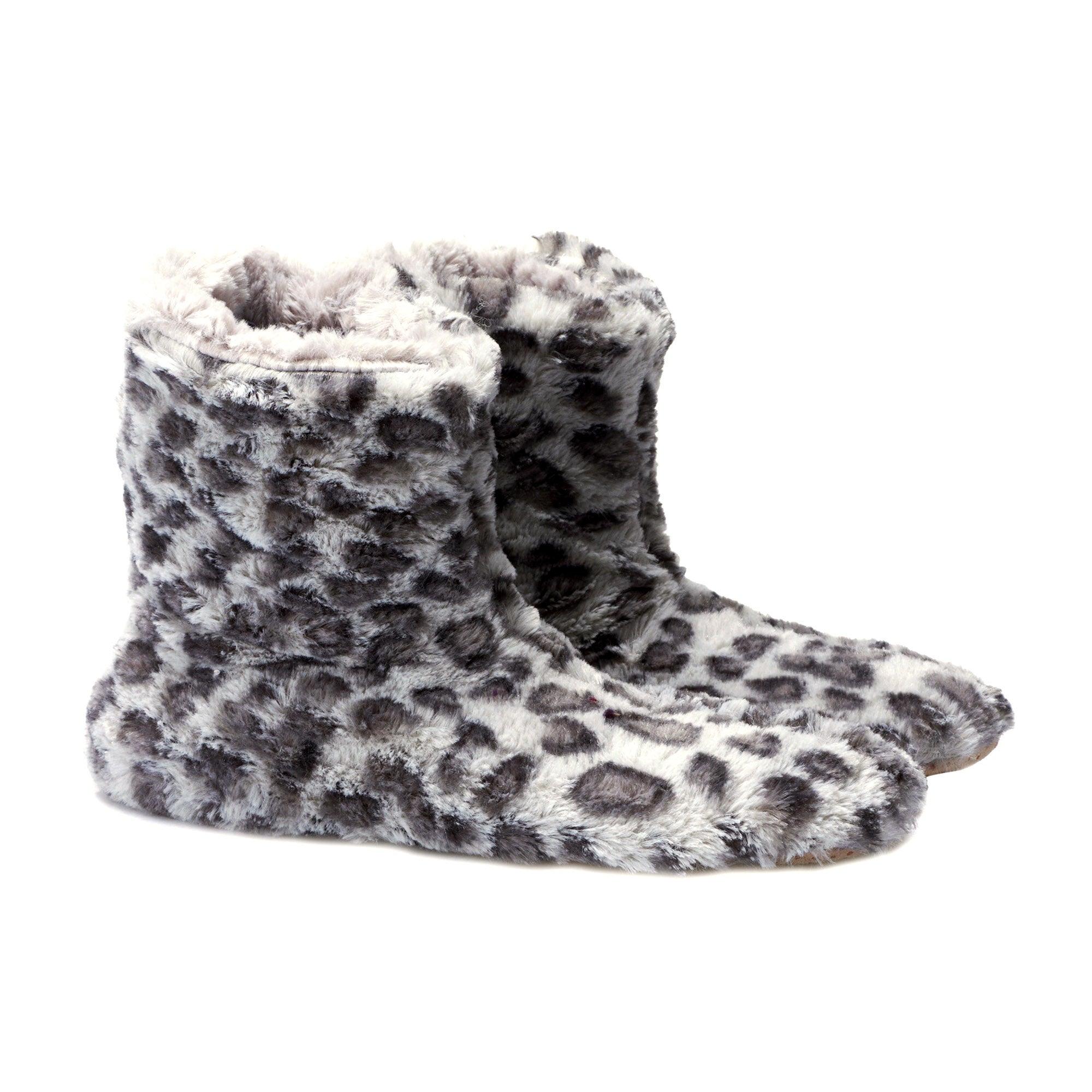 Grey Ladies Leopard Boot Slippers