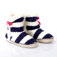 Navy Knitted Stripe Boot