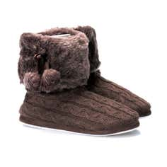 Brown Cable Knit Boot Slippers