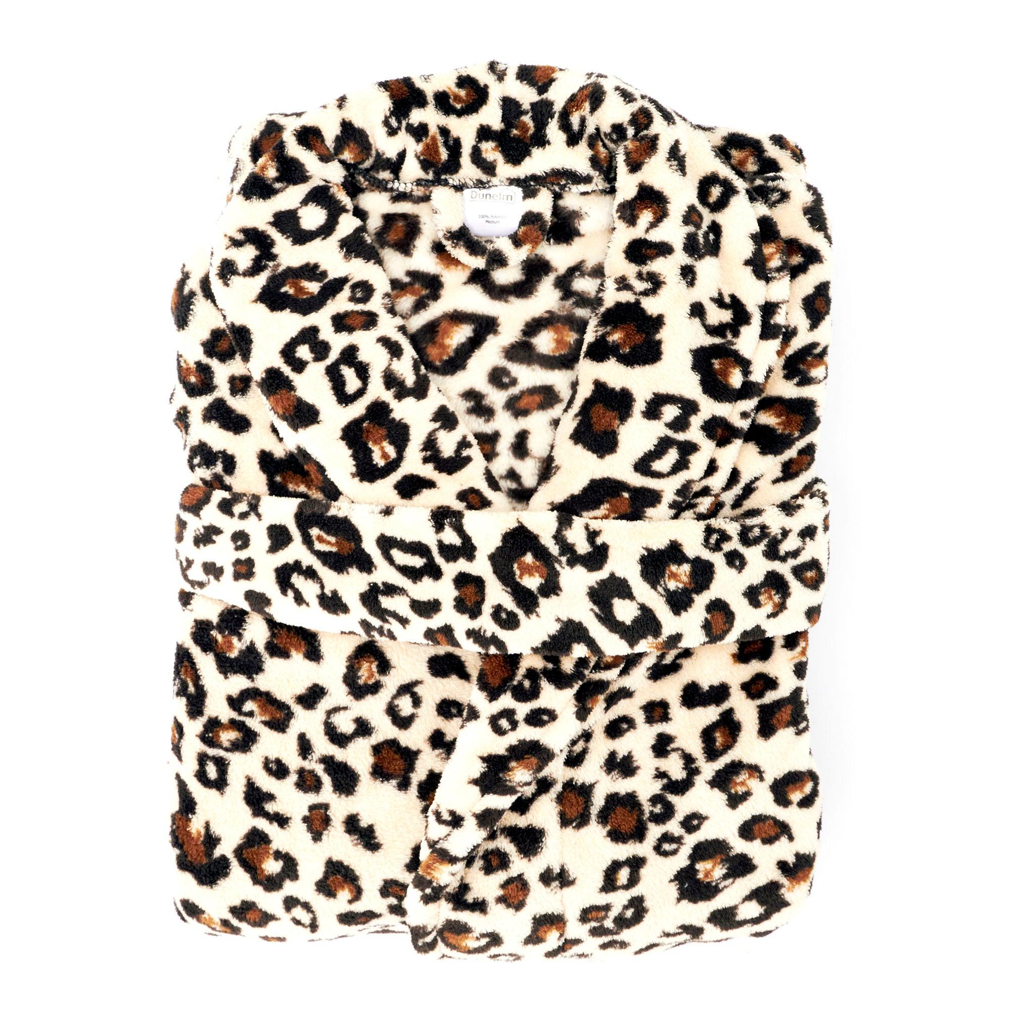 Ladies Leopard Print Bath Robe Small