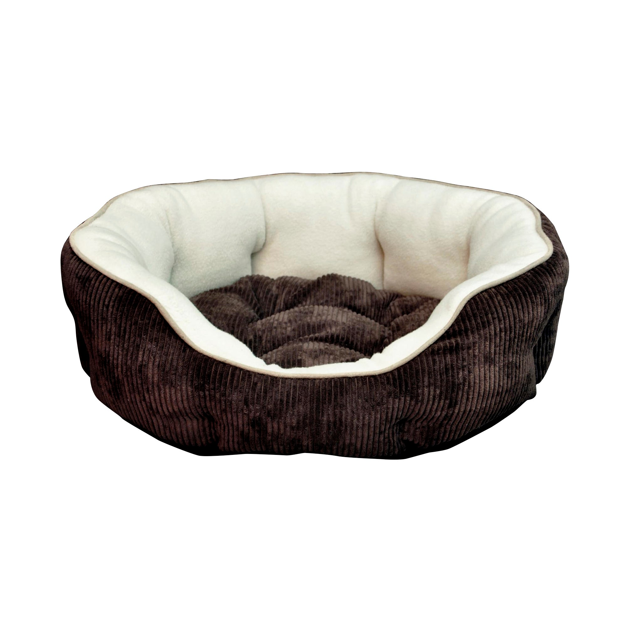 Brown Cord Fleece Oval Pet Bed