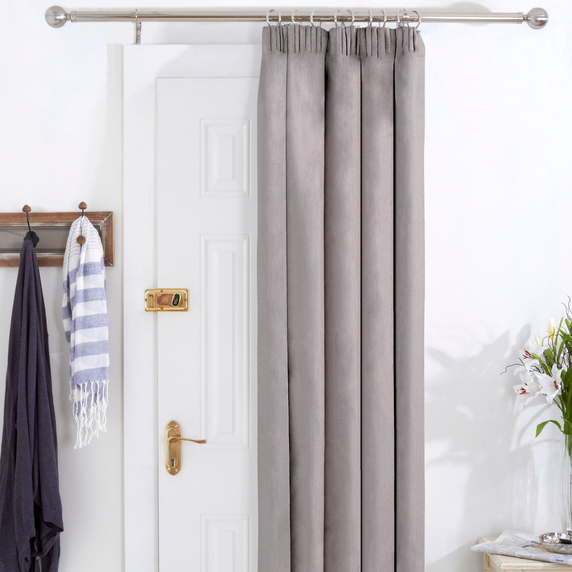 Grey Aspen Thermal Pencil Pleat Door Curtains