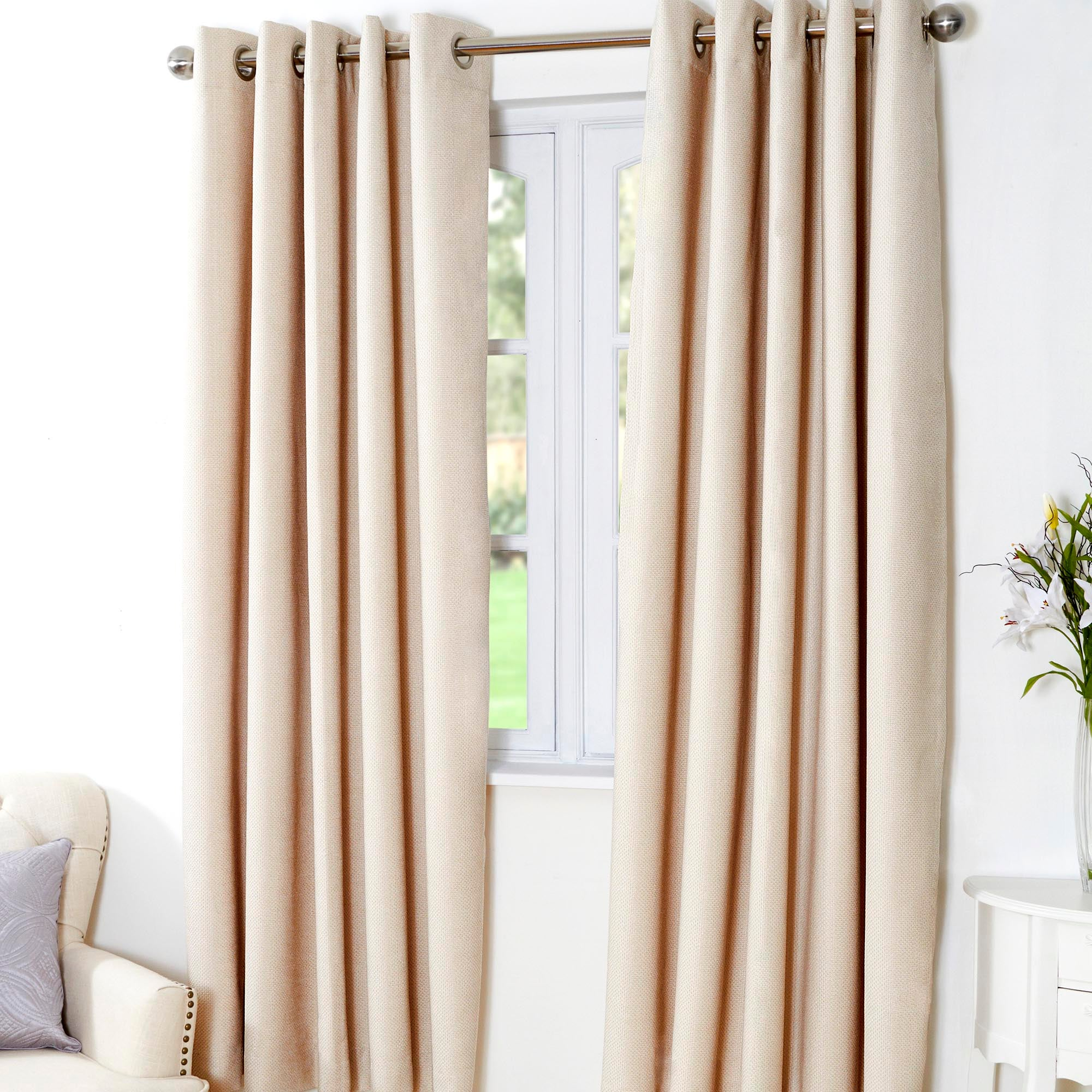 Natural Aspen Thermal Eyelet Curtains