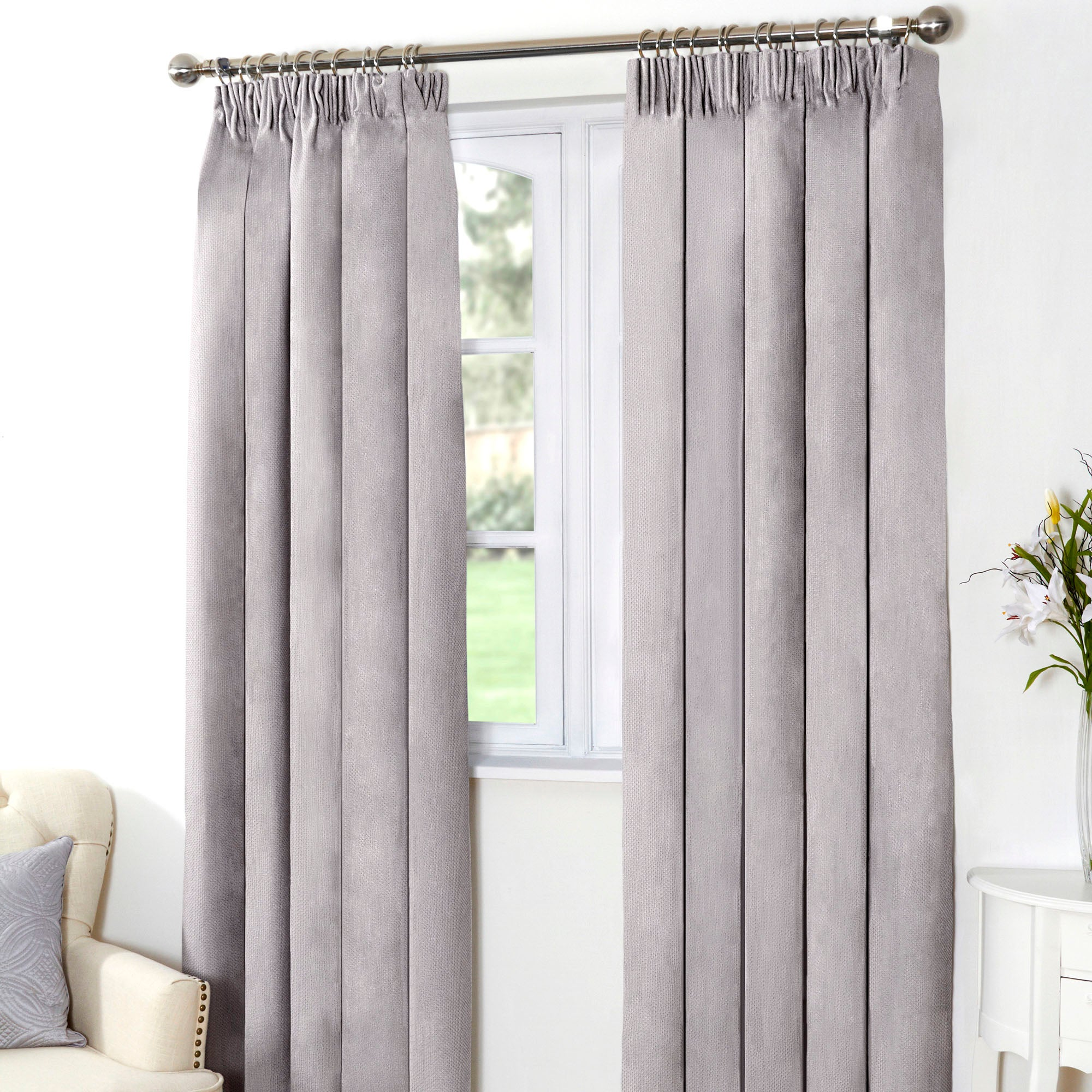Grey Aspen Thermal Pencil Pleat Curtains