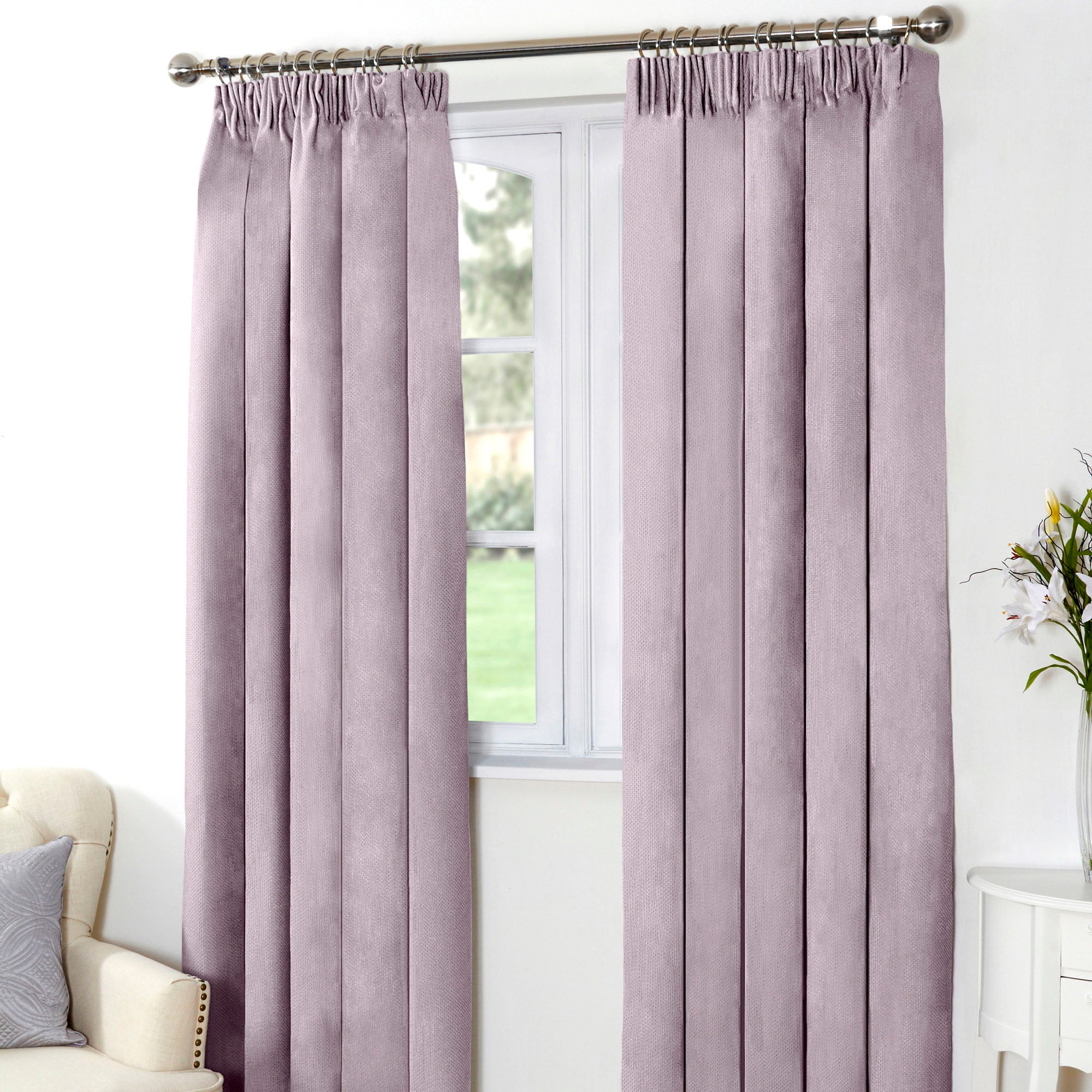 Mauve Aspen Thermal Pencil Pleat Curtains